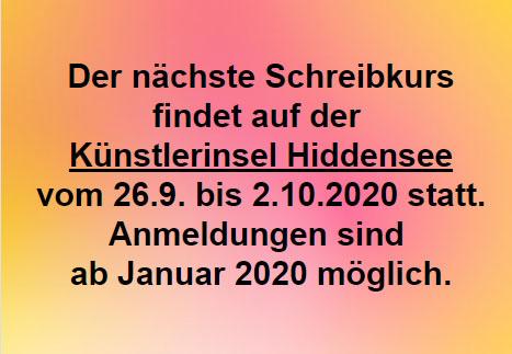 Ankündigung Schreibkurs 2020, Copyright: Cornelia Saxe