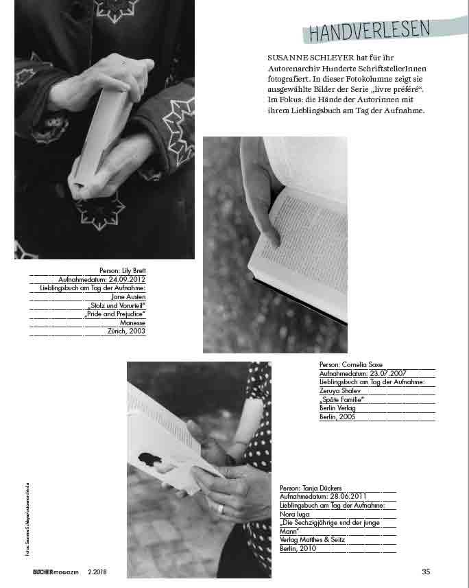 Die Hände der Autorinnen - Auszug aus dem Büchermagazin 2/2018, Copyright: Susanne Schleyer